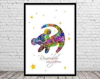 The Lion King  inspired, Remember who you are, Watercolor print, Kids Room Decor, Poster,print (1425b)
