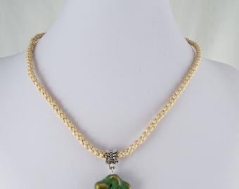 Ealga (Hand Braid Creme Cord W/ Ceramic Star Pendant Necklace)