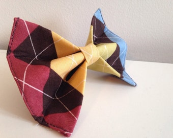 Colorful Brown Argyle Dog Bow Tie in Small, Medium or Large