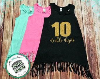 Ten Year Old | Fringe Dress | Fringe Tank | 10th Birthday | Youth | Birthday Dress | Girl Fringe | Glitter | Tenth Birthday | Double Digits