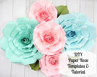 Giant Paper Roses- Large Paper Flower Roses- Rose Templates & Tutorials- Flower Templates