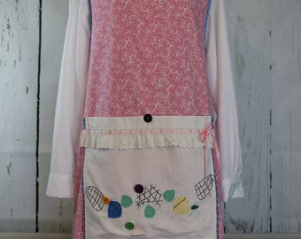Farm smock apron, ready to ship, pink