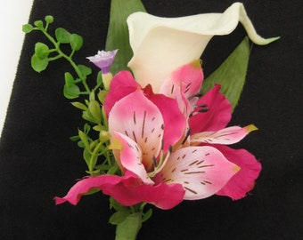 Real Touch Cream Off White Calla Lily Hot Pink Alstroemeria Wedding Silk Flower Boutonniere