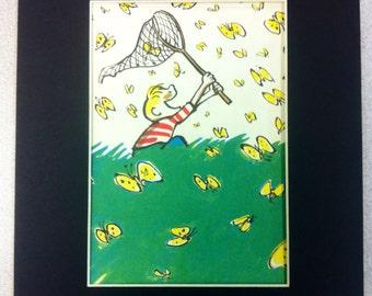 Boy Catching Butterflies - Vintage Matted Print