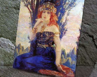 Helen of Troy painting print on natural stone,Tumbled Travertine,painter master print,home decor