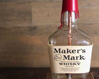 Re-purposed Maker's Mark Bourbon Bottle Lamp 1.75L