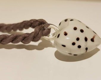 Fabric Necklace w Dalmatian Heart. Dalmatian Necklace. Dalmatian Glass Pendant Necklace. Statement Necklace. Dog Lover Gift. Gift for Her