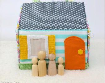 Kid City Play Set: Fabric Dollhouse Pattern, Take Along Dollhouse Pattern, Car Play Set, Train Play Set