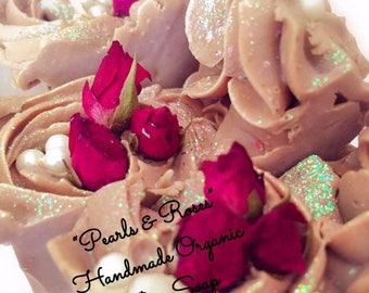 Handmade Organic Bar Soap/bar soap/Roses and pearls/ Vanilla/  New collection/Christmas gift/Christmas soaps