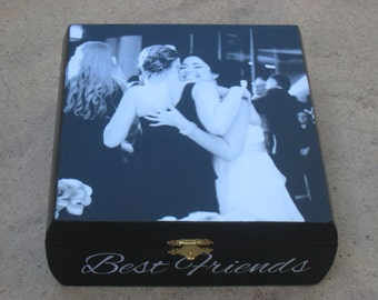 Best Friends Photo Keepsake Box, Unique Maid of Honor Gift, Custom Bridesmaid Memory Box, Personalized Sister, Birthday, Wedding Gift