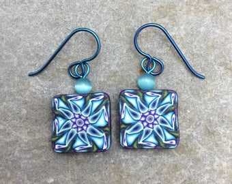 Purple, Teal, Moss Green, Navy, Square, Star Flower, Polymer Clay Earrings