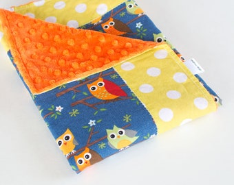SALE - Small Handmade Baby Quilt with Minky for Baby Boy Ten Little Things Navy Owls