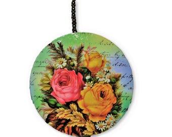 Rose Bouquet Round Wood Fan / Light Pull