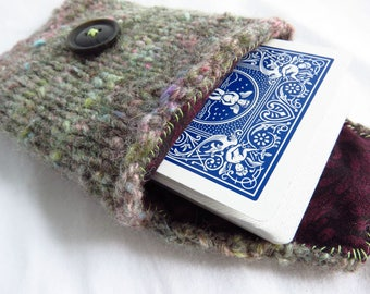 Fruit Pulp - Handknit pouch - wool blend, card pouch, travel case, wallet, chunky gray, pink blue green, fabric liner, button loop closure