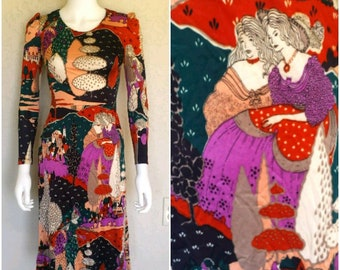 VTG 60s 70s novelty print dress  Sz XS  Some minor flaws / good cond