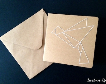Embroidered card - Origami bird - natural cardboard