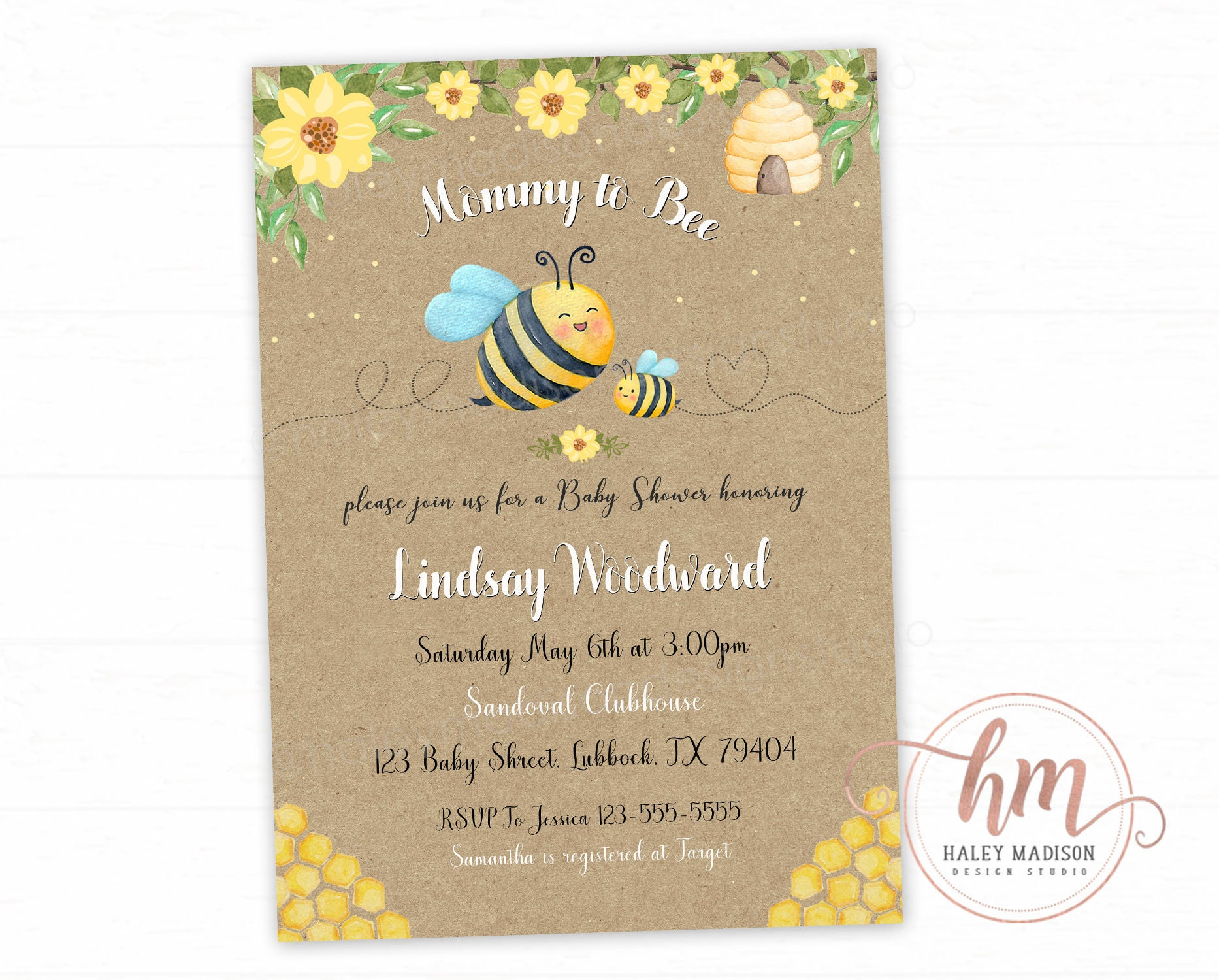 Bumble Bee Baby Shower Invitation Mommy to Bee baby shower