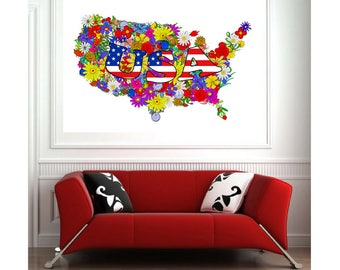 United States of America map poster American map poster USA map print Map of America from flowers Colorful  map art Home or Office Decor