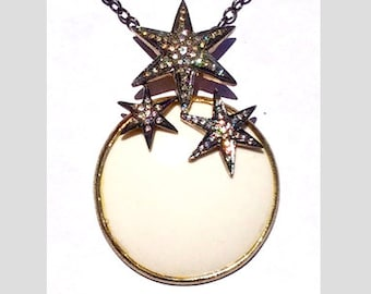 One of a kind sterling silver, CZ, and resin pendant with chain.