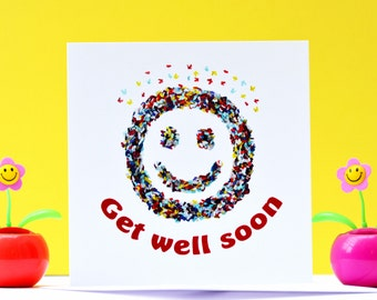 Get well soon card, Butterfly Get Well Card, Smiley Get Well Soon Card, Funny Get Well Soon card, Love Card, Childrens get Well Soon Card