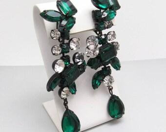 Long Rhinestone Earrings Green Kenneth Lane KJL Jewelry