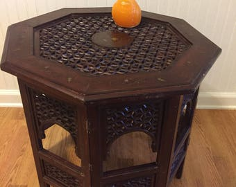 """OCTAGON MOROCCAN TABLE, Folding Table, 20"""" Height X 22.5"""", Octagon Table, Teak Table Moroccan Table, Side Table, Mid Century at Modern Logic"""