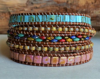 Hummingbird Multi-color Leather Multi-wrap Bracelet Beads on Leather Beaded Wrap Around Artisan Jewelry Boho Chic Wholesale For Her Yevga