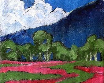 Miniature Impressionist Painting 4x4 Plein Air Landscape California WILDFLOWER MEADOW Lynne French