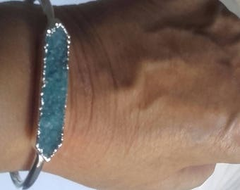 Bracelet quartz brillanPulsera quartz bright blue adaptable silver bellisma gift of them promotion jewelry of them