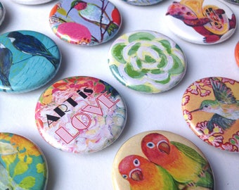 Art Button, choose from over 25 designs, 1.25 in, by Jenlo