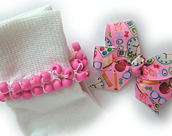 Kathy's Beaded Socks - Back to School on Pink Socks and Hairbow, girls socks, pony bead socks, hot pink socks, school socks, green socks