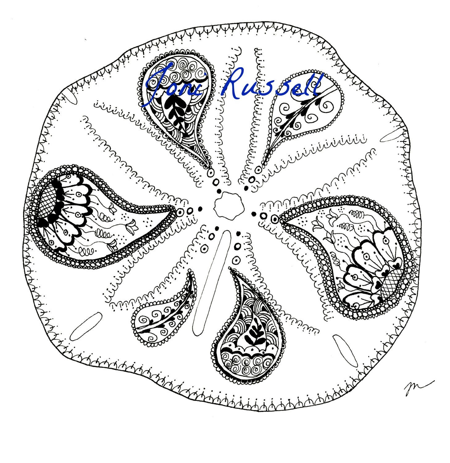 Zentangle Coloring Page Sand Dollar