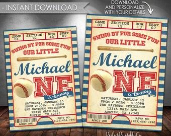 Vintage Baseball Invitation, Baseball Birthday Invitation, Baseball Invite, Baseball Party, Red and Blue, Instant Download, Editable #545
