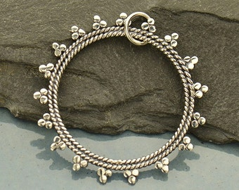 Sterling Silver, Open Mandala, Sun Pendant, Sun Charm, Silver Sun Pendant, Silver Sun Charm, Mandala Pendant, Mandala Charm, Granulation