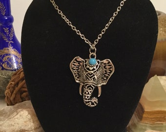 Boho Filigree Elephant Pendant with Silver-Tone Chain