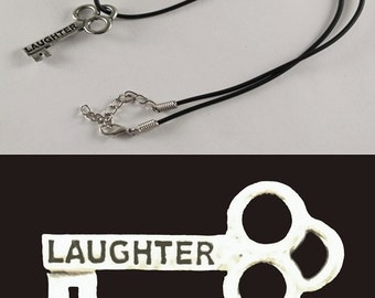 """Laughter Mini Key Necklace with 18"""" - 19 1/2"""" Adjustable Black Cord"""