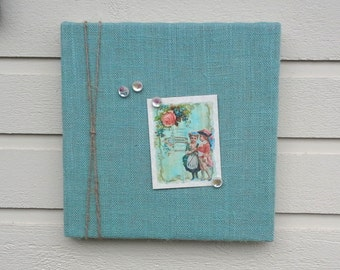 Magnet memo Board over a box style frame made with natural burlap and lace, for photo display or decor, office or kitchen