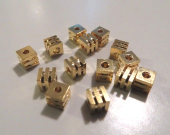 3.5mm Gold (Base) Metal Cube Beads - 14 pieces