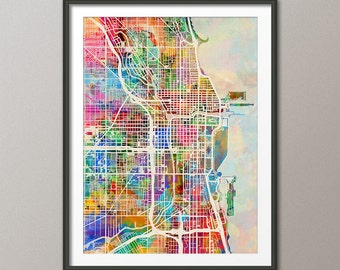 Chicago Map, Chicago Illinois City Street Map, Art Print (1309)