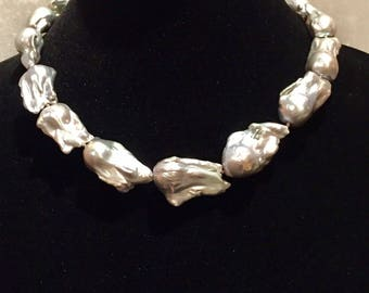 Large Gray Baroque Pearl Necklace 14K Clasp - Outstanding Luster