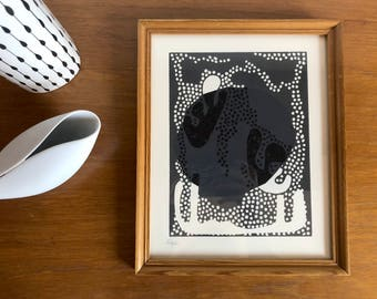 Abstract modernist lino print with paper featuring Chine-collé in Vintage wood frame