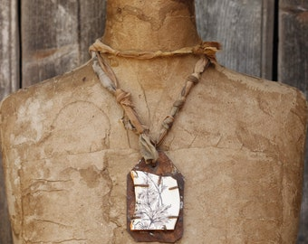 Necklace, Found Object and Ceramic Pendant, Eco Dyed