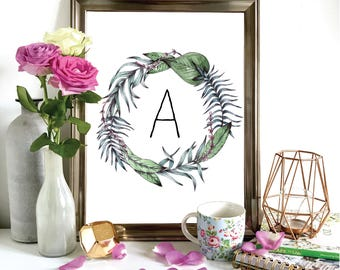 Personalised Watercolour Tropical Wreath Print, Illustration, Painting A3, A4, A5