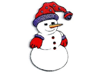 Snowman - Red Hat - Snowlady - Winter - Embroidered Iron On Applique Patch - B