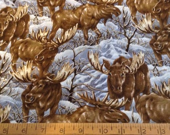 Moose  cotton fabric by the yard