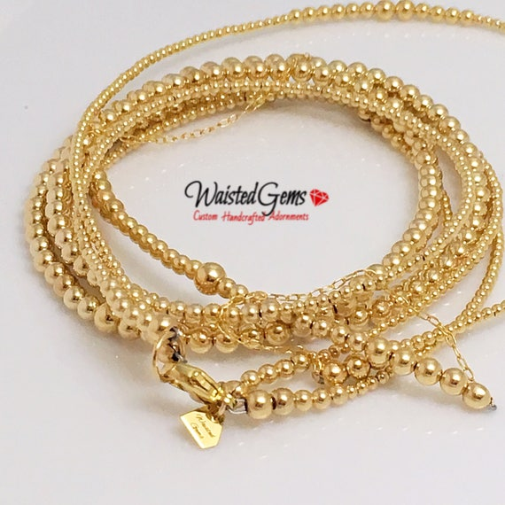 14k Gold Double Strand Waist Bead Set, Wedding Gift, Gold Waist bead, African Waist Beads,  zmw221.9