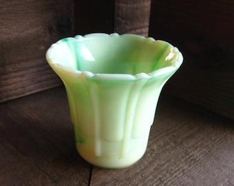 Akro Agate Glass Vase, Flower Pot, Planter, Green Slag Glass, Art Deco, Cottage Chic