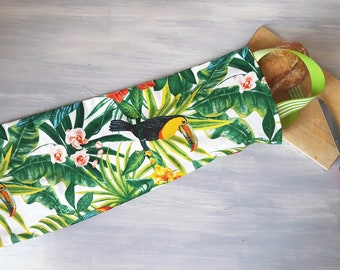 """Bag with bread, practical, eco-friendly, chic, """"birds of the tropics"""" to 3 sticks 2 tradtions, shipping costs to the France"""