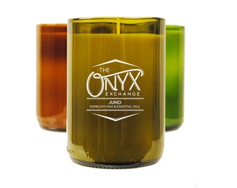 Juno - Mandarin Red and Orange Essential Oil Wine Bottle Soy Candle