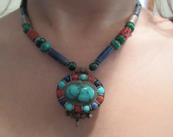 Native American Sterling Silver Turquoise & Coral Necklace